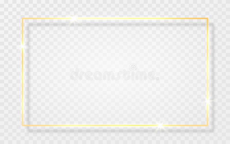 Guld- skinande glödande tappningram med skuggor som isoleras på genomskinlig bakgrund Guld- lyxig realistisk rektangelgräns vekto royaltyfri illustrationer