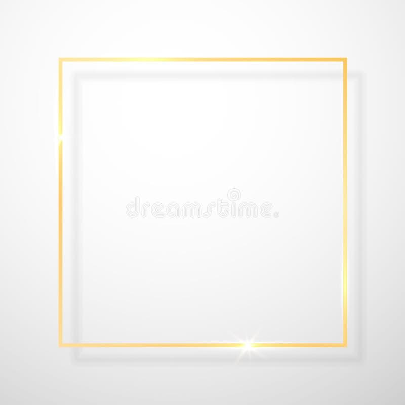 Guld- skinande glödande tappningram med skuggor som isoleras på genomskinlig bakgrund Guld- lyxig realistisk rektangelgräns vekto stock illustrationer