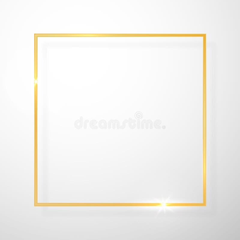 Guld- skinande gl?dande tappningram med skuggor som isoleras p? genomskinlig bakgrund Guld- lyxig realistisk rektangelgr?ns vekto vektor illustrationer