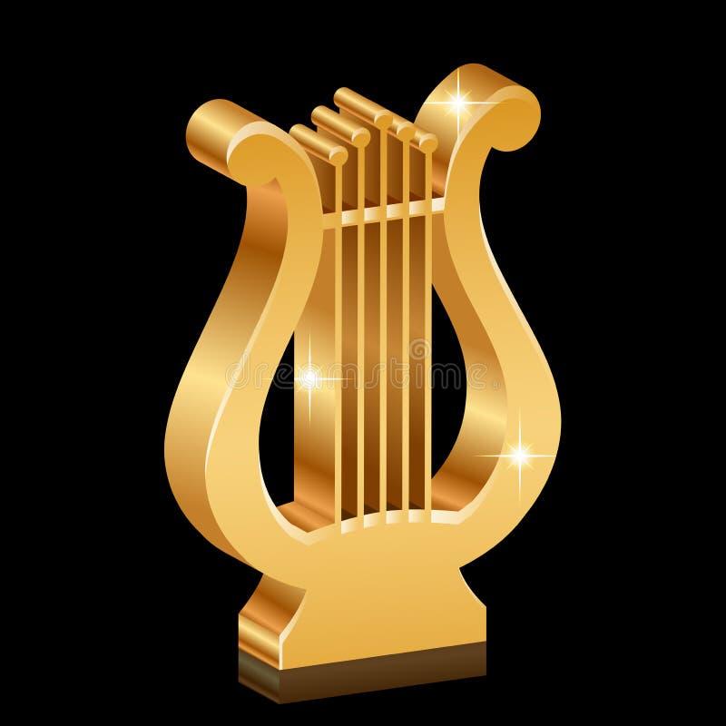Guld- skinande lyra royaltyfri illustrationer