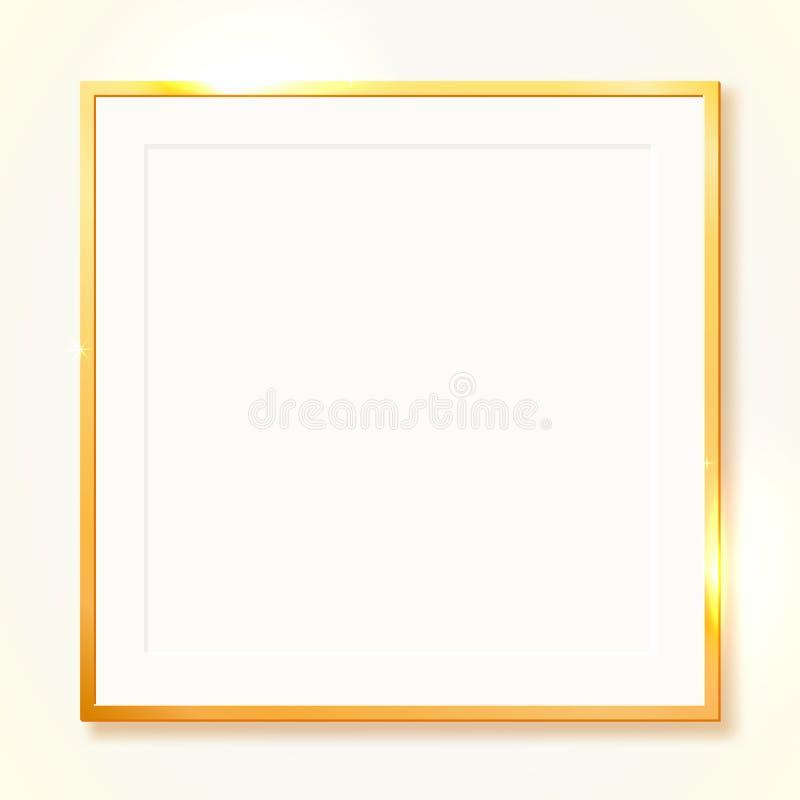 Guld- skinande tappninggräns som isoleras på genomskinlig bakgrund Guld- lyxig realistisk rektangelram stock illustrationer