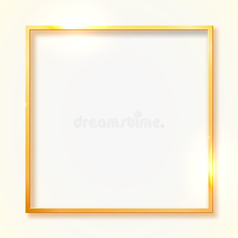 Guld- skinande tappninggräns som isoleras på vit bakgrund Guld- lyxig realistisk rektangelram stock illustrationer