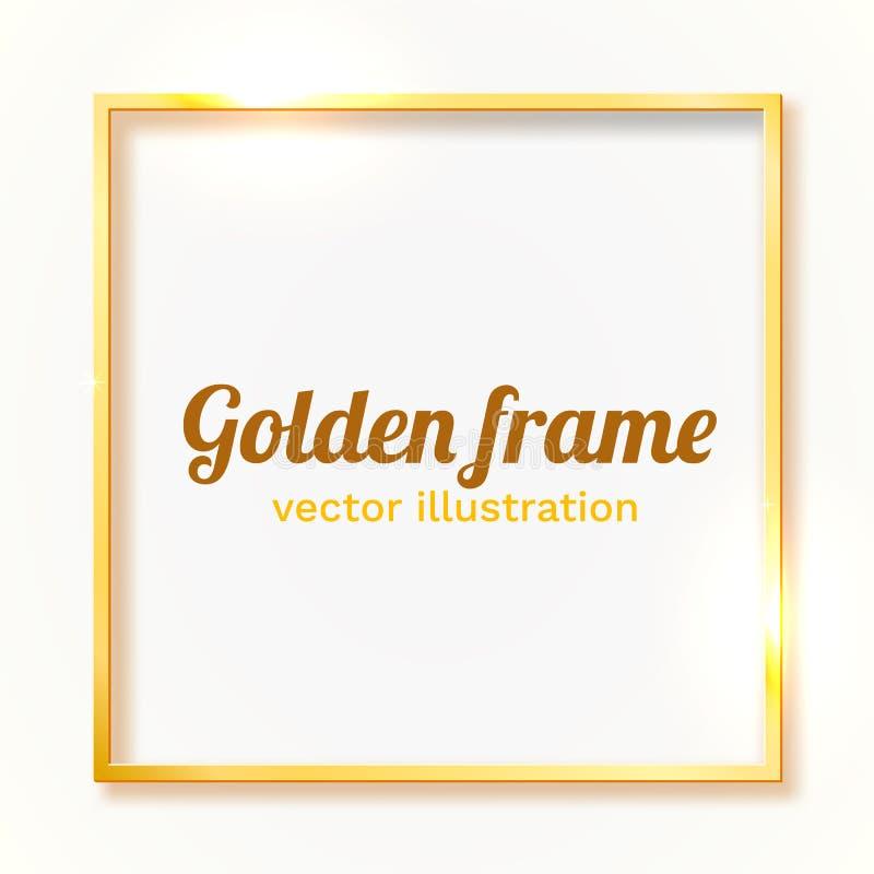 Guld- skinande tappninggr?ns som isoleras p? vit bakgrund Guld- lyxig realistisk rektangelram stock illustrationer