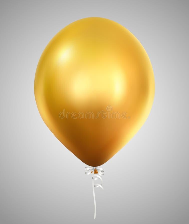 Guld- skinande uppblåsbar heliumballong royaltyfri illustrationer
