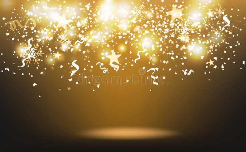Guld- skjuta stjärnor och konfettier som faller, papper sprider med snöflingor och band, abstrakt begrepp för händelse för berömf vektor illustrationer