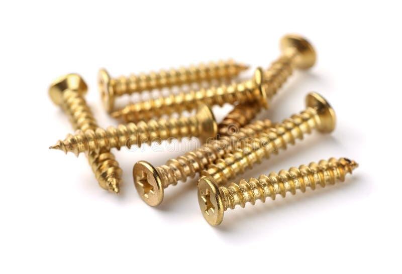 Guld- skruvar arkivfoton