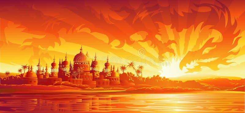 guld- sky för stadsdrake under version royaltyfri illustrationer
