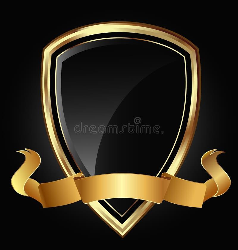 Guld- skydda och bandet royaltyfri illustrationer