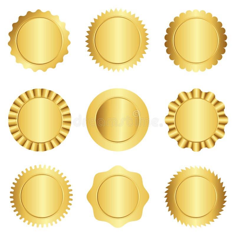 Guld- skyddsremsa-/stämpelsamling royaltyfri illustrationer