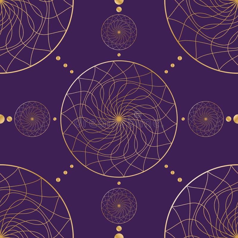 Guld- släta linjer för sömlös orientalisk modell på en geometrisk prydnad för mörk bakgrund av abstrakt bakgrund för guld- cirkla royaltyfri illustrationer
