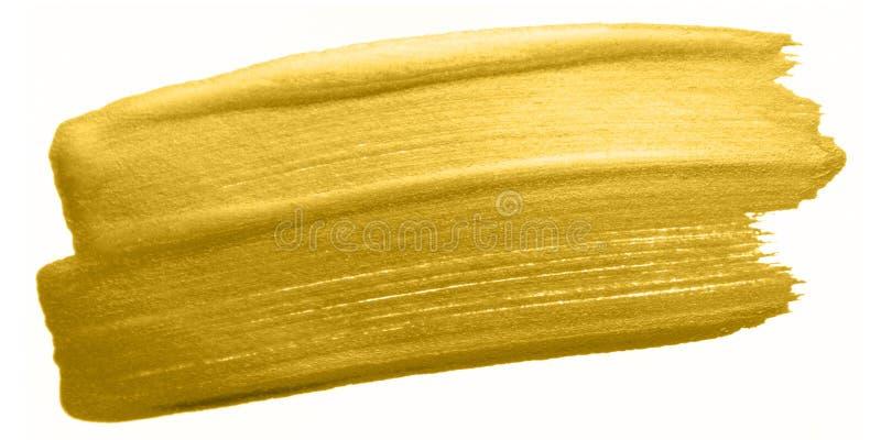 Guld- slaglängd för färgmålarfärgborste Guld- suddfläck för akryl på vit bakgrund Abstrakt begrepp specificerad guld som blänker  royaltyfria foton