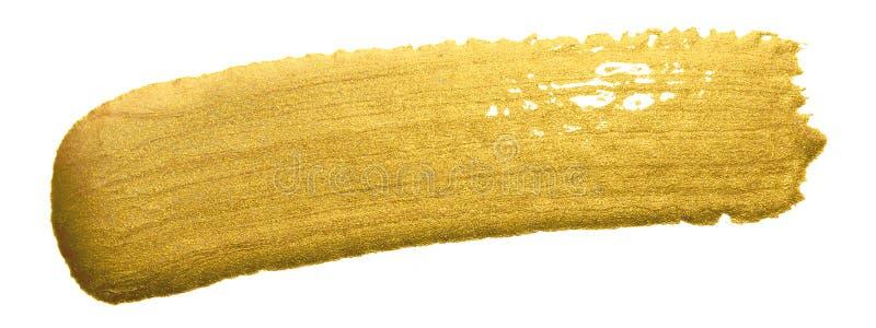 Guld- slaglängd för sudd för målarfärgborste Guld- färgfläck för akryl på vit bakgrund Abstrakt guld som blänker texturerad glans arkivbild