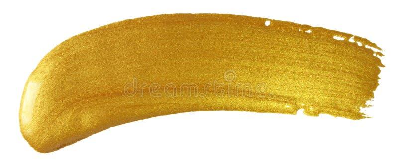 Guld- slaglängd för sudd för målarfärgborste Guld- färgfläck för akryl på vit bakgrund Abstrakt guld som blänker texturerad glans royaltyfri foto