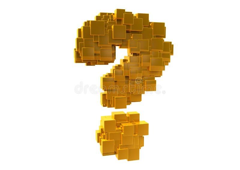 Guld- slumpmässig frågefläck royaltyfri illustrationer
