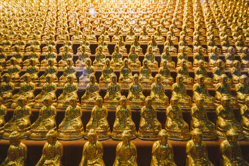 Guld- små Buddhastatyer inom den Yakcheonsa templet Jeju Sydkorea arkivfoto