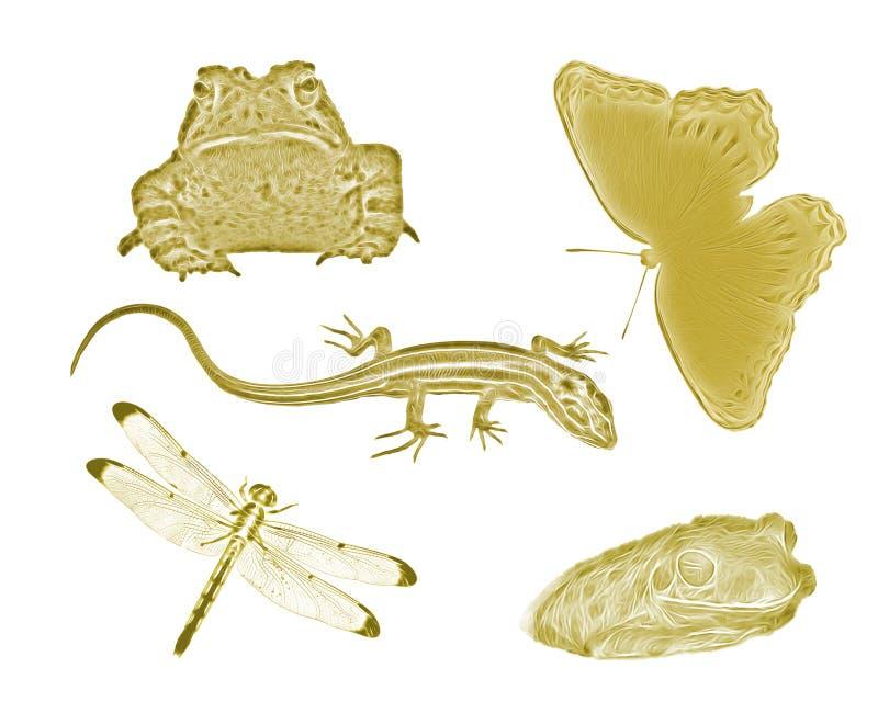 Guld- små trädgårddjur och kryp arkivfoton