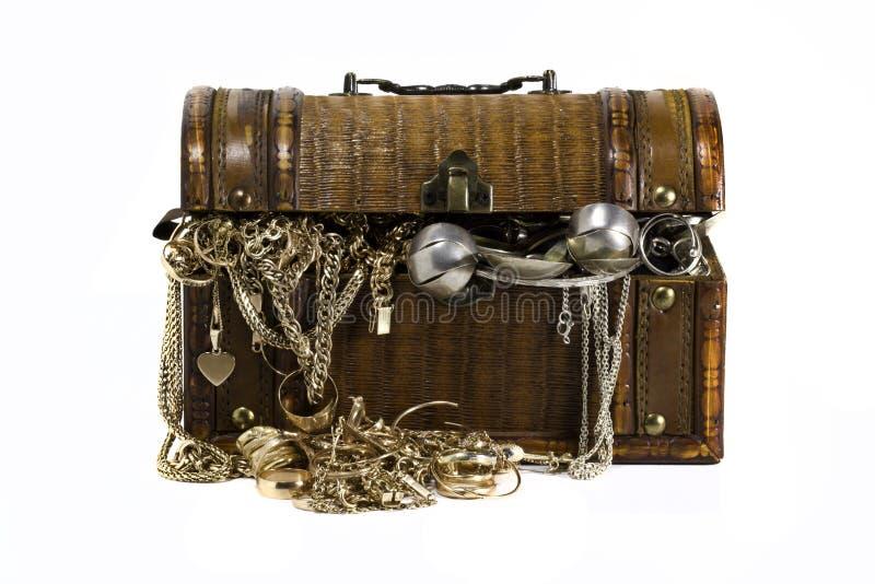 Guld- smyckenbröstkorg arkivfoto