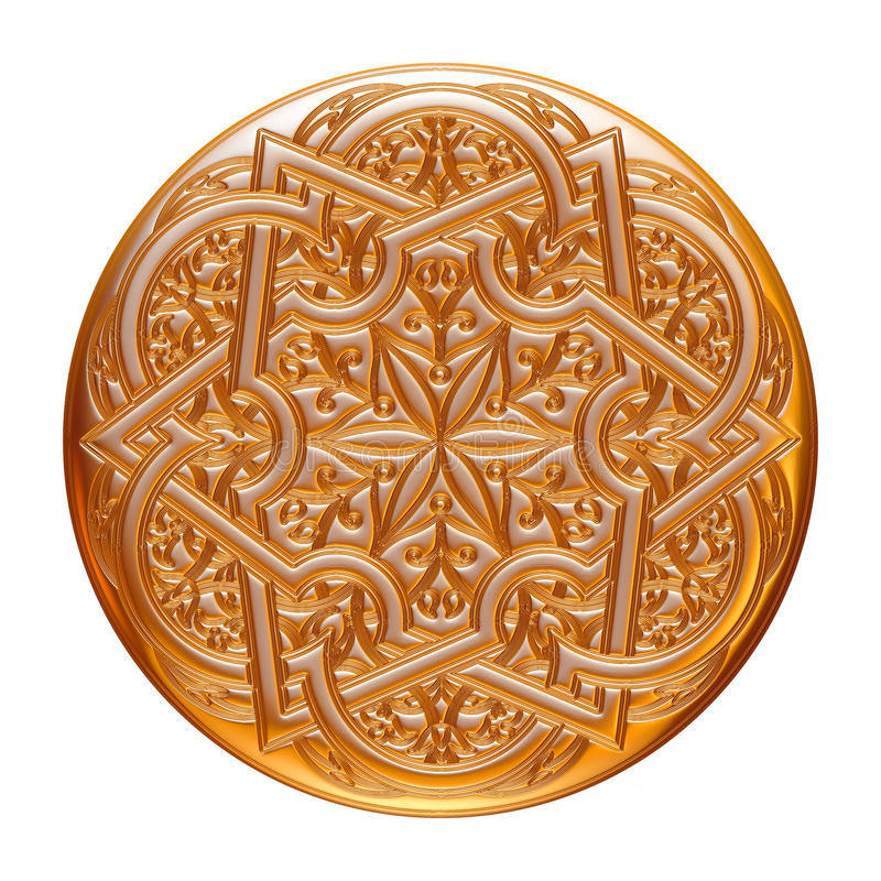 Guld- smyckenemblem som isoleras på vit royaltyfri illustrationer