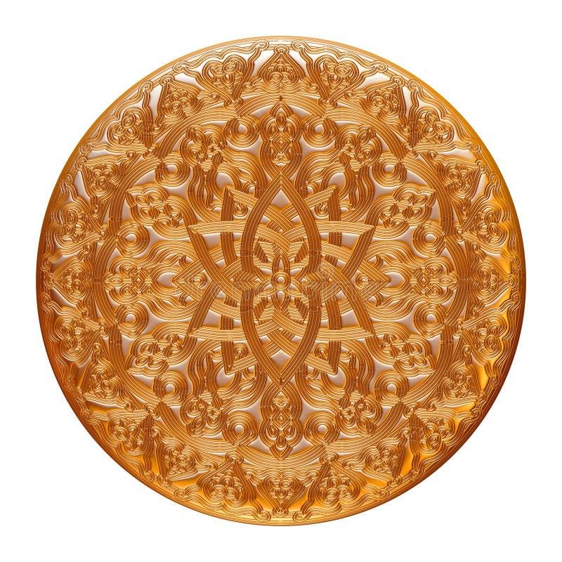 Guld- smyckenemblem som isoleras på vit stock illustrationer