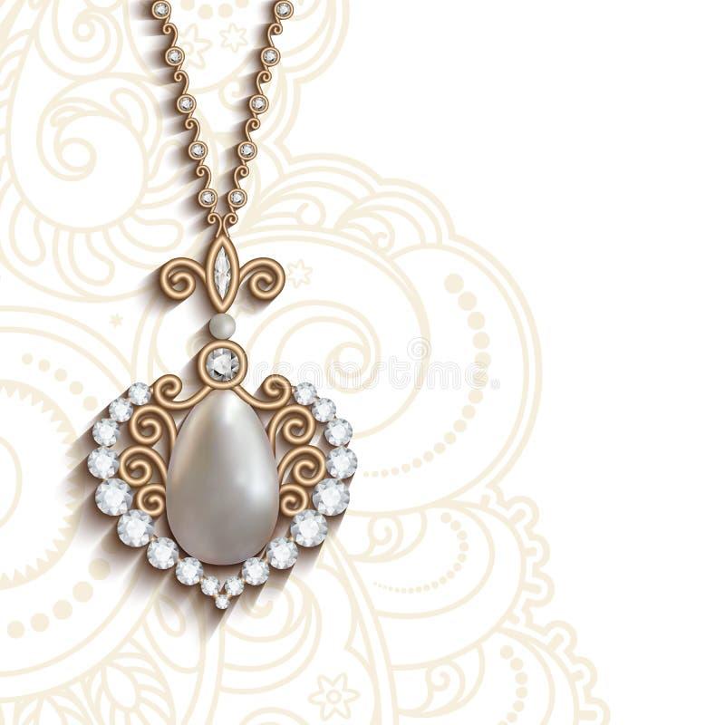 Guld- smyckenhänge royaltyfri illustrationer