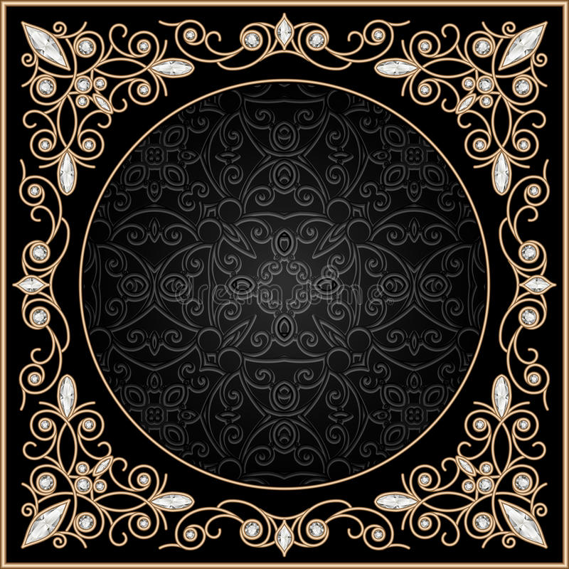 Guld- smyckenram royaltyfri illustrationer