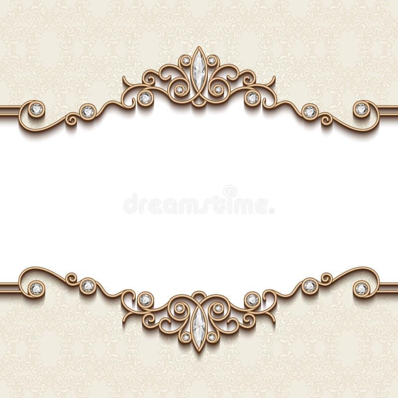 Guld- smyckenram vektor illustrationer