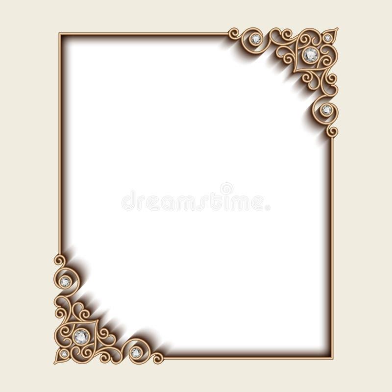 Guld- smyckenram för rektangel stock illustrationer