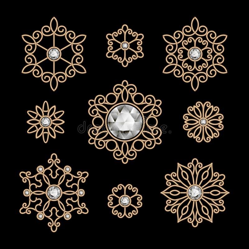 Guld- smyckenuppsättning vektor illustrationer