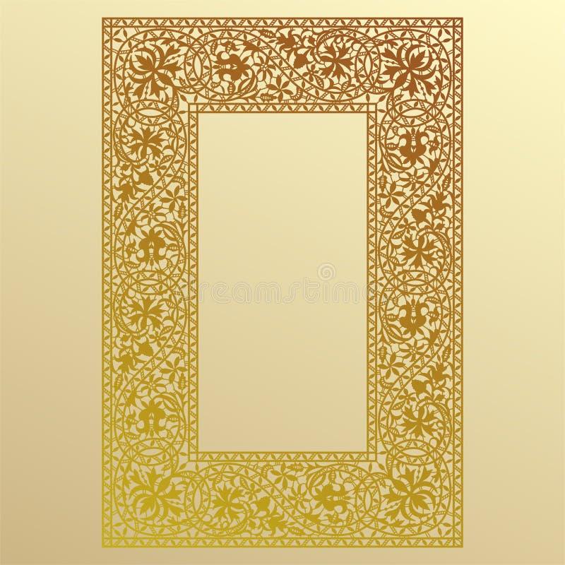 Guld snör åt ramen stock illustrationer