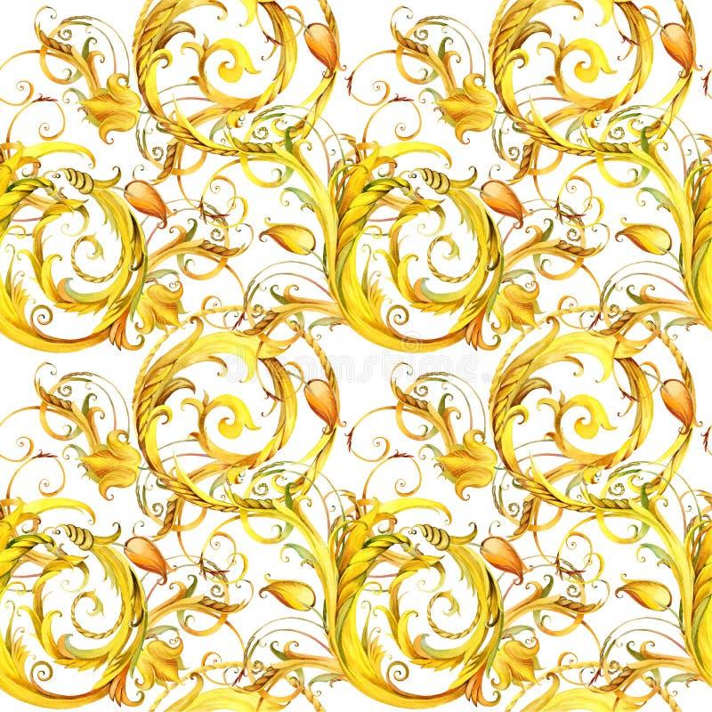 Guld- snöra åt den sömlösa modellen bakgrund för tappningkrullningsvattenfärg vektor illustrationer