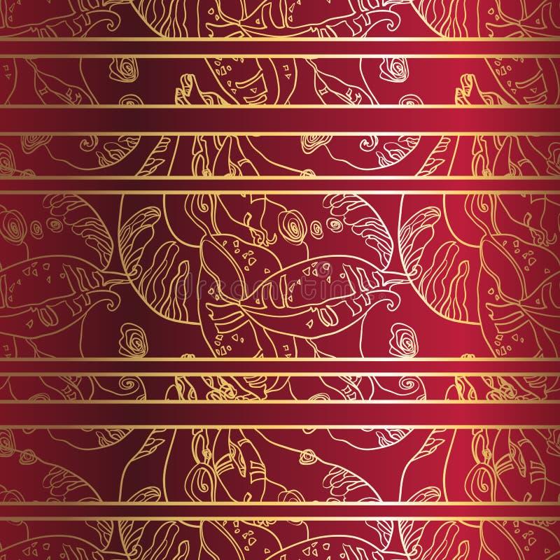 Guld- snöra åt röd bakgrund för prydnaden på djupt - seamless modell royaltyfri illustrationer