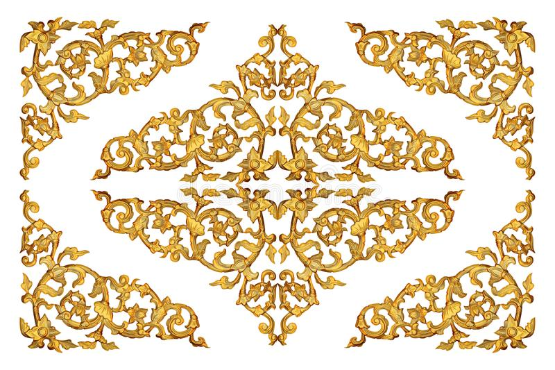 Guld- snidit trä isolerat på vit arkivfoto