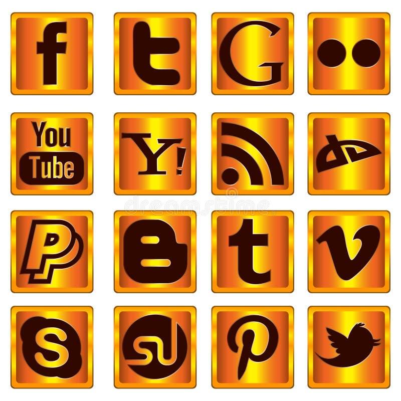 Guld- sociala massmediasymboler royaltyfri fotografi