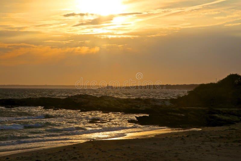 Guld- solnedgång Newport Rhode - ö royaltyfri foto