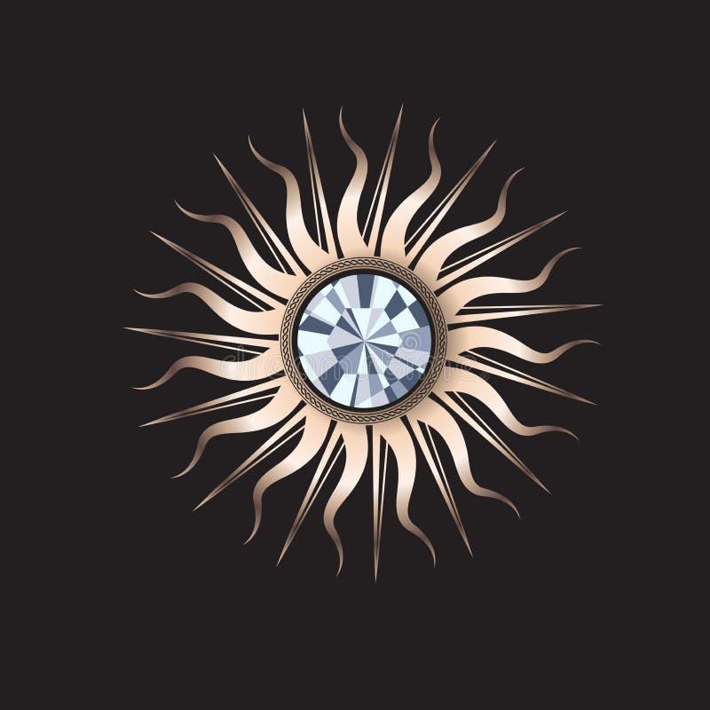 Guld- solsmycken med gemstonen arkivfoto