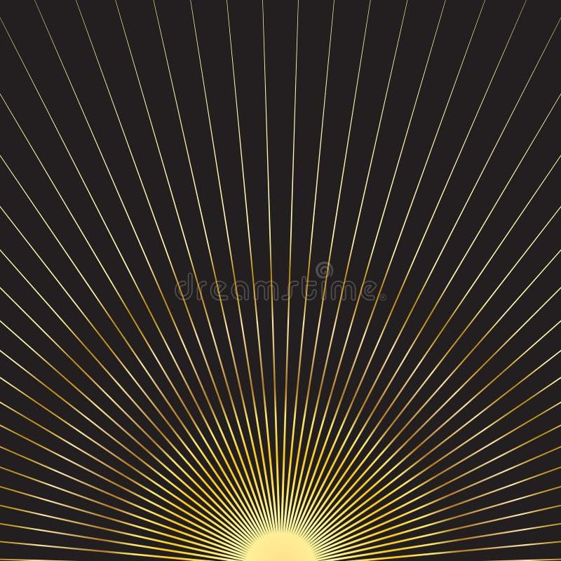 Guld- solstrålar stock illustrationer