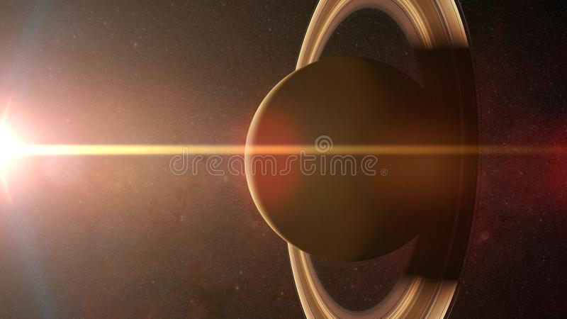 Guld- soluppgång över planeten Saturn royaltyfri foto