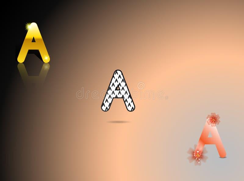 Guld som är svartvit, apelsin färgar med bokstaven A vektor illustrationer