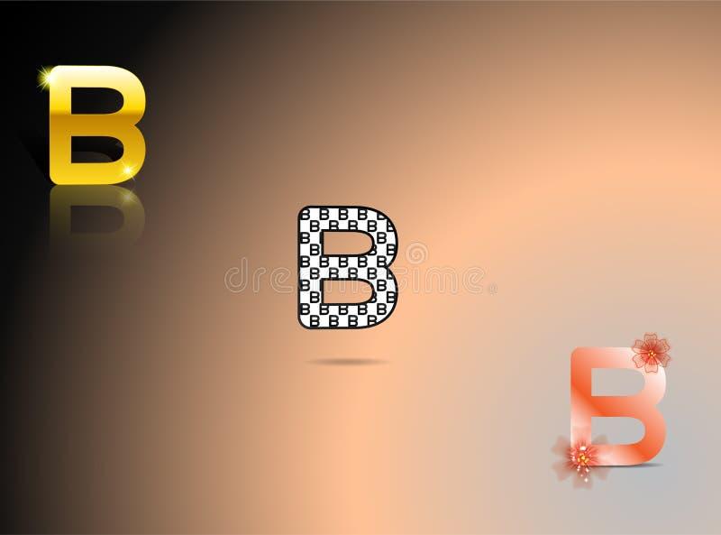 Guld som är svartvit, apelsin färgar med bokstaven B royaltyfri illustrationer
