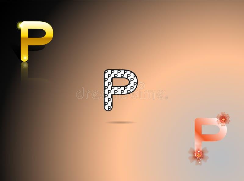 Guld som är svartvit, apelsin färgar med bokstaven P stock illustrationer