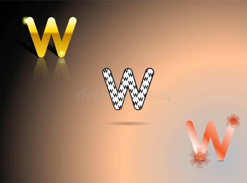 Guld som är svartvit, apelsin färgar med bokstaven W royaltyfri illustrationer