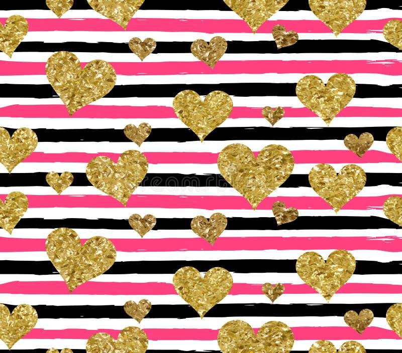 Guld som blänker den sömlösa modellen för hjärtakonfettier royaltyfri illustrationer