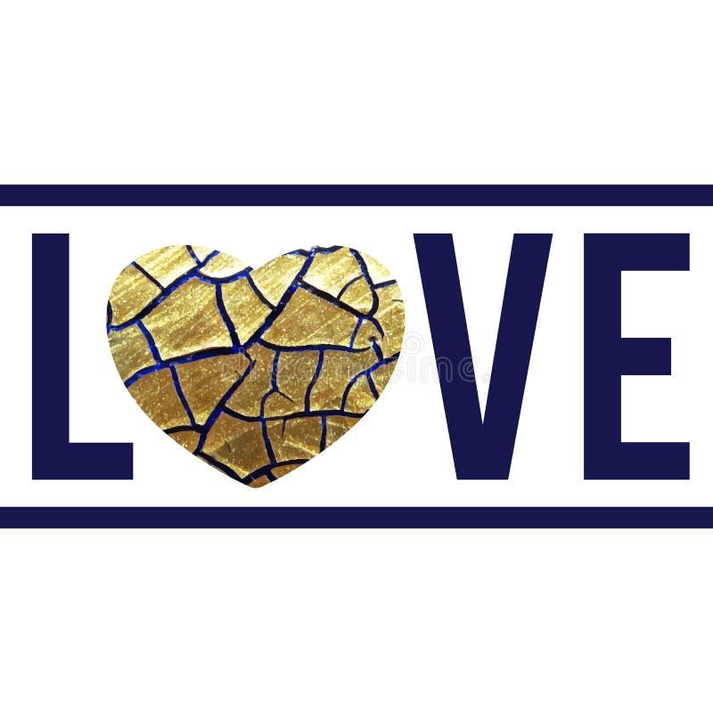 Guld som blänker texturerad hjärta stock illustrationer