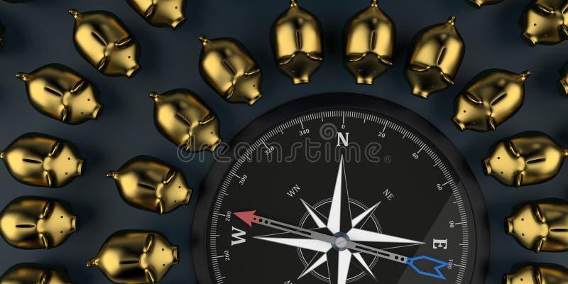 Guld- spargrisar för kompass vektor illustrationer