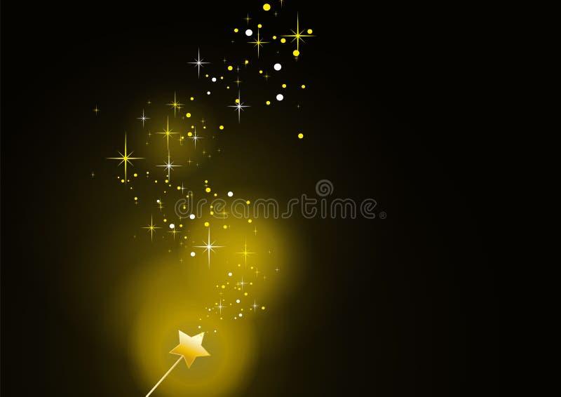 Guld- sparkles 3 för Wand royaltyfri illustrationer