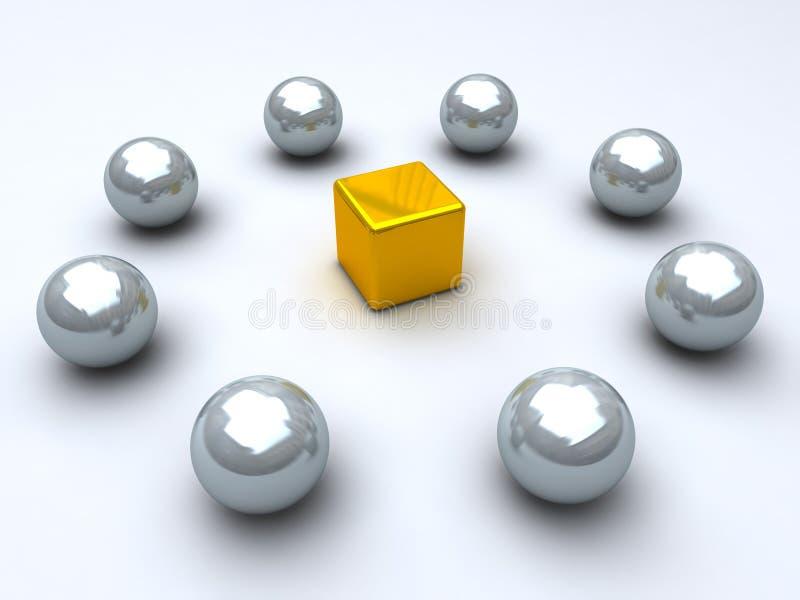 guld- spheresstål för kub vektor illustrationer