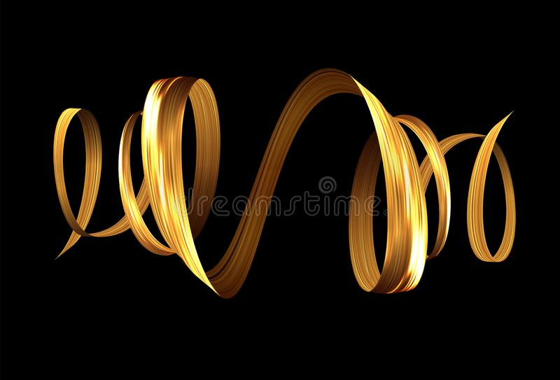 guld- spiral f?r band f?r slagl?ngd f?r borste f?r m?larf?rg 3d Det kan vara n?dv?ndigt f?r kapacitet av designarbete stock illustrationer