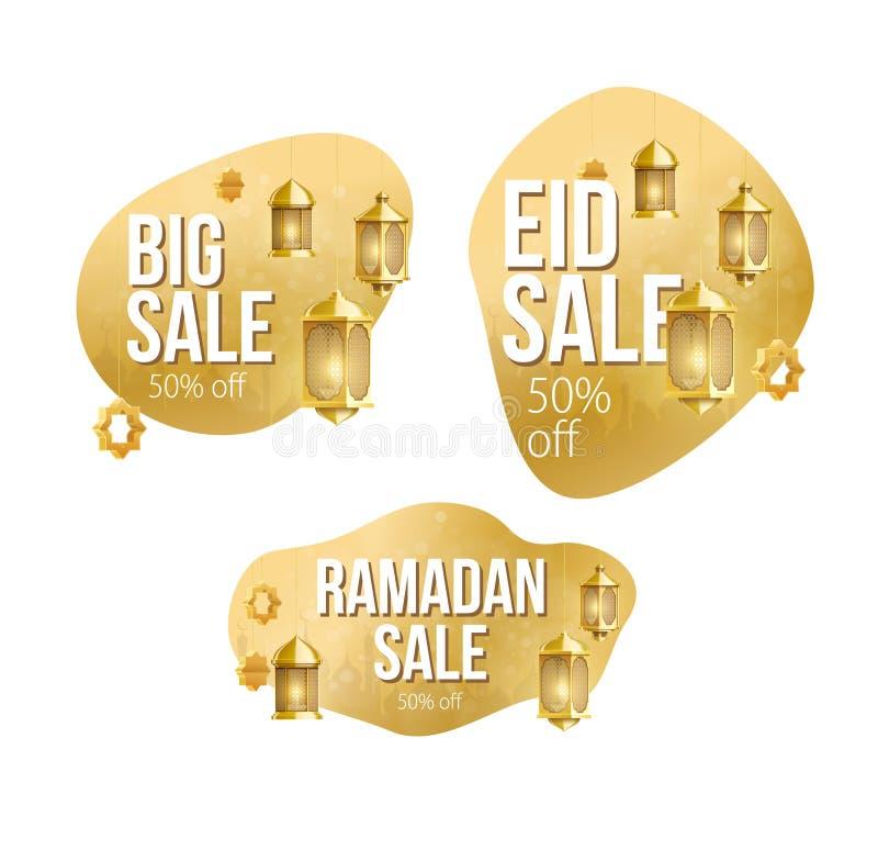 Guld- st?lle f?r ramadan kareembakgrund f?r textf?rs?ljningsbaner arkivfoton