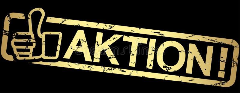 guld- stämpel AKTION! stock illustrationer