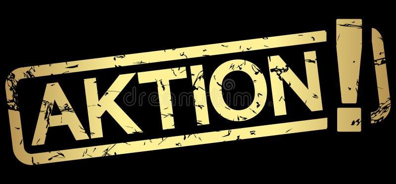 guld- stämpel AKTION! vektor illustrationer